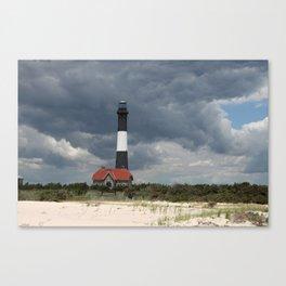 Dramatic Sky Over Fire Island Light Canvas Print