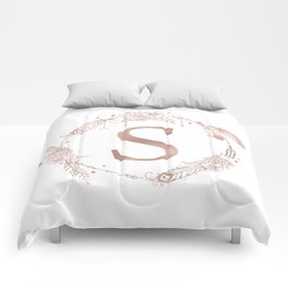 Letter S Rose Gold Pink Initial Monogram Comforters