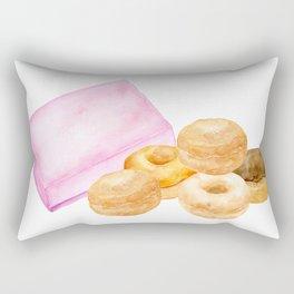 Watercolor donuts and gift box Rectangular Pillow