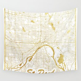 St Paul Map Gold Wall Tapestry