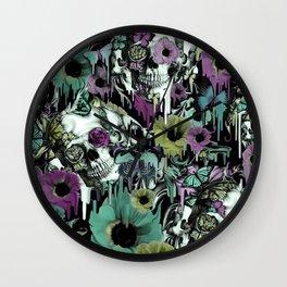 Mrs. Sandman, melting rose skull pattern Wall Clock