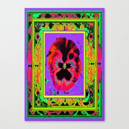 Exotic Red Pansy in  Green-Lavender-Rose-Yellow Color Patterns Abstract Canvas Print