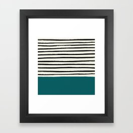 Dark Turquoise & Stripes Framed Art Print