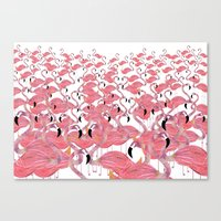 flamingos Canvas Prints featuring Flamingos by Lydia Coventry