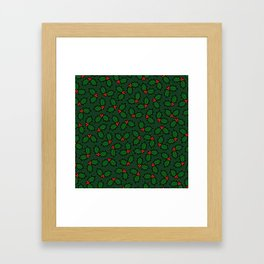 Holly Leaves and Berries Pattern in Dark Green Framed Art Print