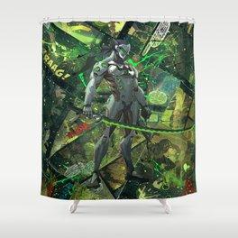 Genji Vibrant Green Samurai Comic Art Collage Shower Curtain