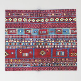 Tunisian Flatweave Antique Tribal Rug Throw Blanket