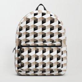 Pantone Hazelnut Hexagon, Cube Pattern Optical Illusion Backpack
