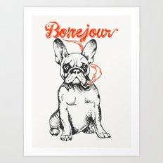Bonejour Bulldog Art Print