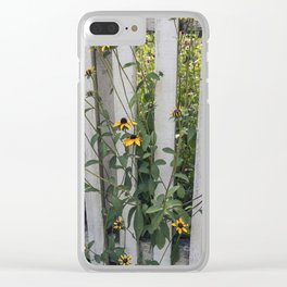 Fenced In Black Eyed Susans Clear iPhone Case