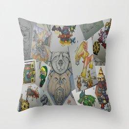 Collage Doodles Throw Pillow