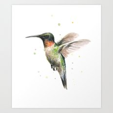 Hummingbird Watercolor Bird Animal Ruby Throated Art Print