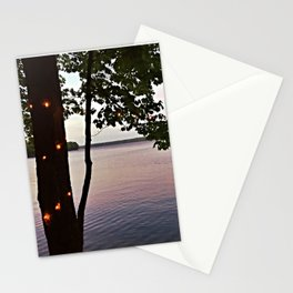 String Lights at Sunset on Lake Pemaquid in Damariscotta, Maine (2) Stationery Cards
