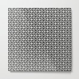 Black and White Greek Key Pattern Metal Print