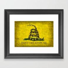 Gadsden Flag, Don't Tread On Me in Vintage Grunge Framed Art Print