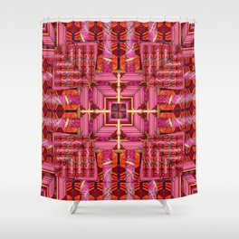 number 173 red orange yellow pink pattern Shower Curtain