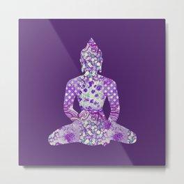 Buddha Vintage Floral Pattern Purple Metal Print