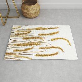 golden wheat field watercolor Rug