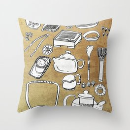 Chinese Tea Doodle 1 Throw Pillow