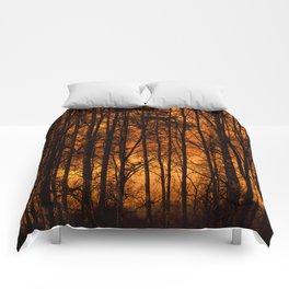Tree Silhouettes Against The Sunrise Sky - Winter Scene #decor #society6 #homedecor Comforters