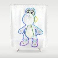yoshi Shower Curtains featuring Yoshi by Beastie Toyz