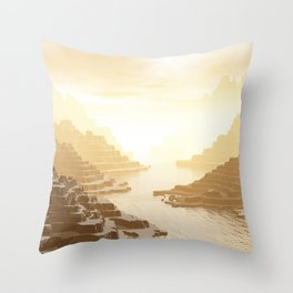 Misted Mountain River Passage Throw Pillow