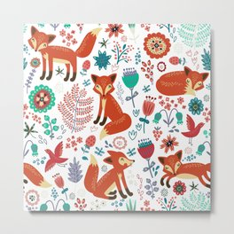 Red Foxes Flowers & Birds Pattern Metal Print