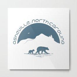 Asheville - Mountains & Black Bears - AVL 11 Greyblue Metal Print