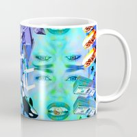 miley cyrus Mugs featuring MILEY CYRUS by Riot Clothing