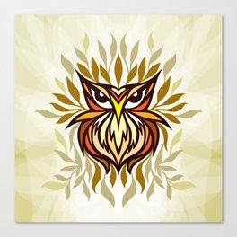 Staring Owl - Creative Tribal Style Mirror Graphic of Bird Canvas Print