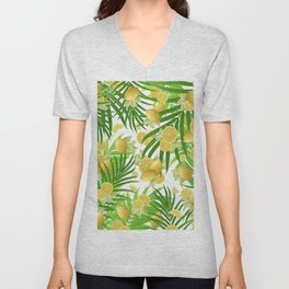 Summer Lemon Twist Jungle #2 #tropical #decor #art #society6 Unisex V-Neck