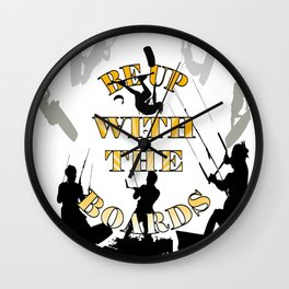 Be Up With The Boards Yellow Text And Kitesurfer Vector Wall Clock