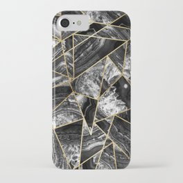 Black White Agate Black Gold Geometric Triangles iPhone Case