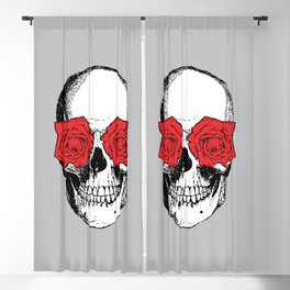 Skull and Roses | Skull and Flowers | Vintage Skull | Grey and Red | Blackout Curtain