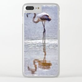 Flamingo Ripples and Reflections Watercolor Clear iPhone Case
