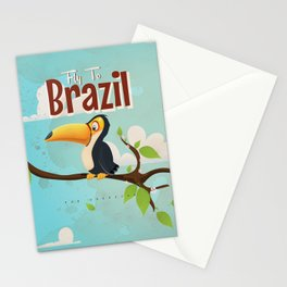 Vintage fly to Brazil Toucan Travel Poster Stationery Cards