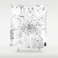 dublin Shower Curtains featuring DUBLIN by Maps Factory