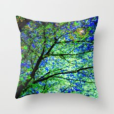 Green Leaves Night Sky Throw Pillow