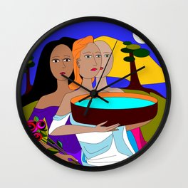Three Women Preparing for Evening, Purple Sky Wall Clock