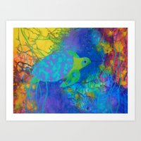 Whimsical Sea Turtle in Jewel Tone Colors Art Print