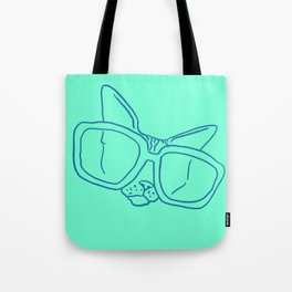 Funny Sphynx Cat in Oversized Sunglasses - Animal Minimal Line Drawing - Neon Green - Vibrant Illustration Tote Bag