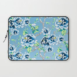 Chinoiserie Ming style Blue Floral Pattern Laptop Sleeve