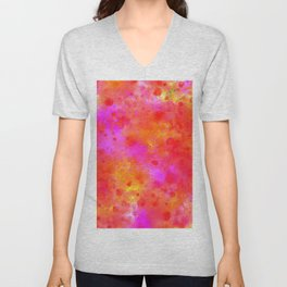 Watercolor Painting Bright Red & Summer Pink Abstract Paint Splashes Unisex V-Neck
