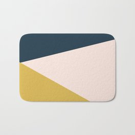 Jag 2. Minimalist Angled Color Block in Navy Blue, Blush Pink, and Mustard Yellow Bath Mat