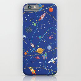Space Rocket Pattern iPhone Case