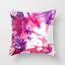 Modern Artsy Abstract Neon Pink Purple Tie Dye Throw Pillow