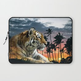 Tropical Tiger in Blue Sunset Laptop Sleeve