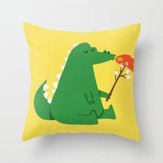 Dragon and Marshmallow Throw Pillow