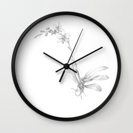 Small Orchid in Graphite Wall Clock
