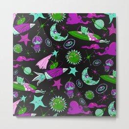 Orbital - Green   Purple   Cyan Metal Print